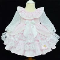 * Gorgeous Baby Girl Pink Spanish  Lacey Puff Ball Dress Many Layers 2034 Pink